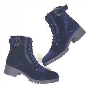 G by Guess Blue Velvet Combat Boots 8.5M